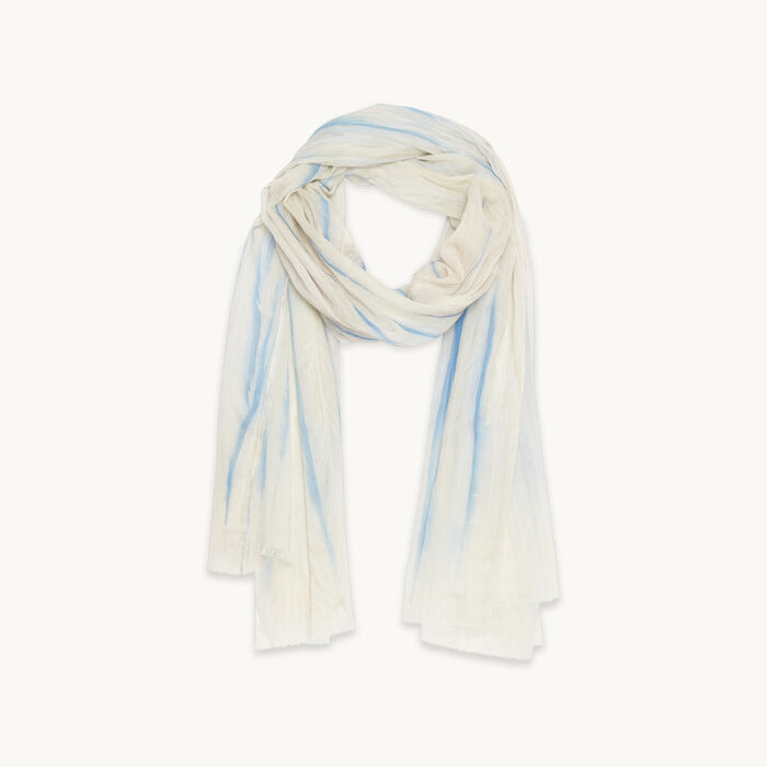 Printed cotton stole : Accessories color Blue Sky