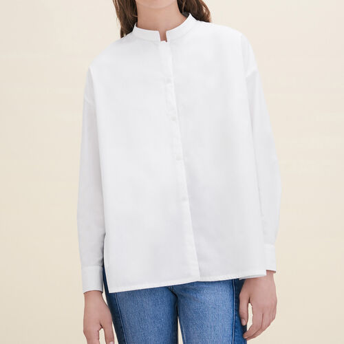 Asymmetric poplin shirt : Shirts color White