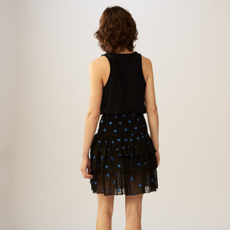 Embroidered Swiss-dot flounce skirt : Skirts & Shorts color Black 210