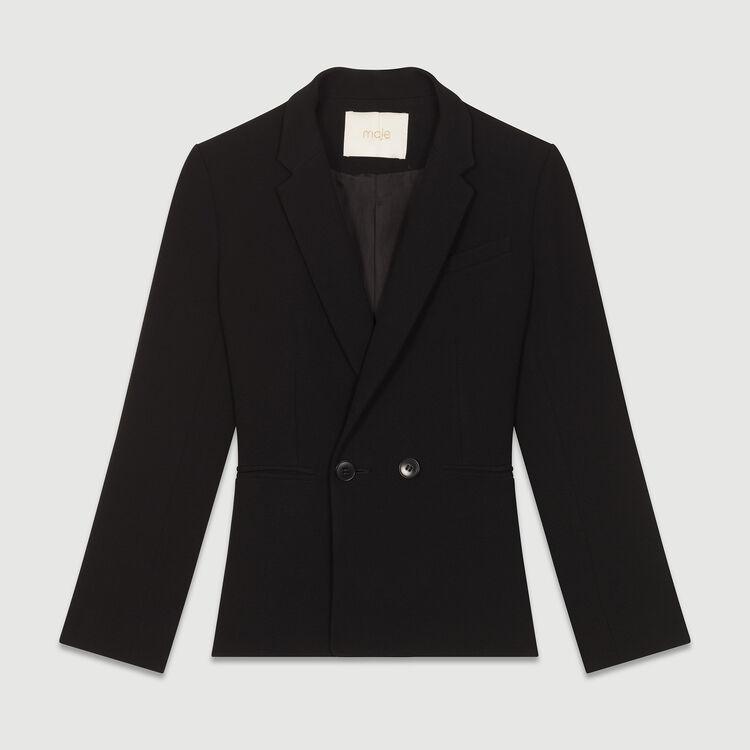 Suit-style cropped vest : Blazers color Black 210