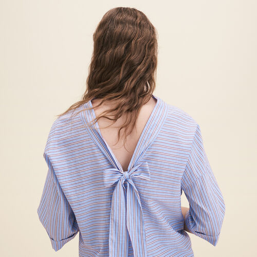 Loose striped cotton top : Tops color Blue