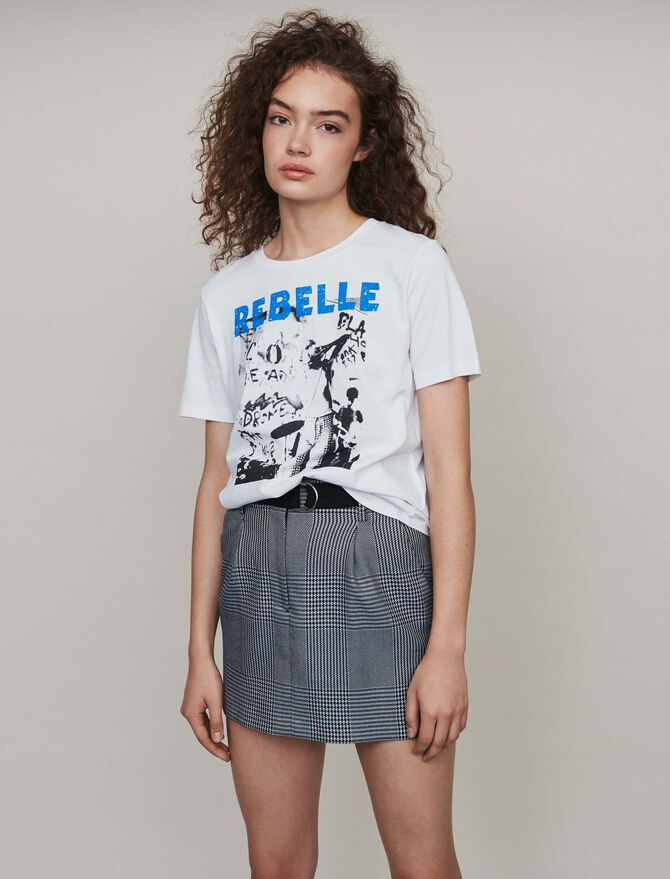 Silk screen printed tee shirt - top - MAJE