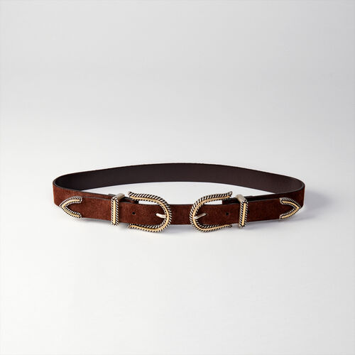 High-waisted double buckle belt : Belts color Black