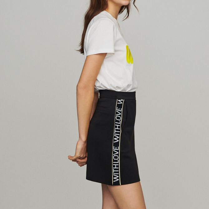 Short skirt with slogan band -  - MAJE