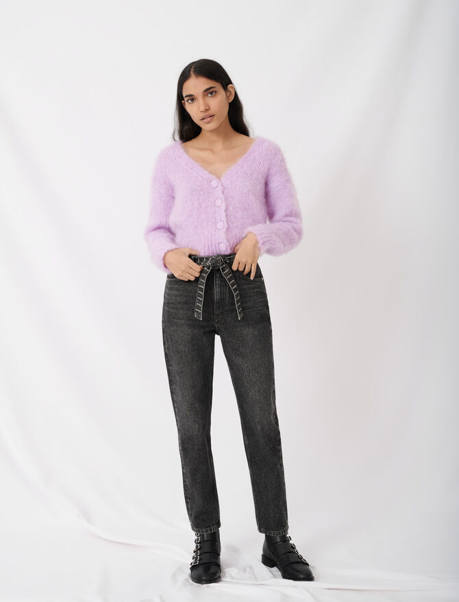 Mom jeans with rhinestone belt - Eco-friendly - MAJE