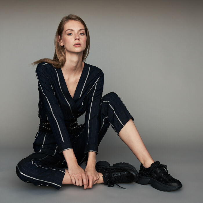 Striped jumpsuit : Ready to wear color Navy