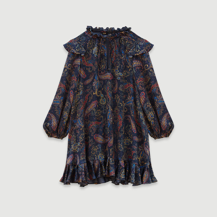 Jacquard-printed babydoll dress : Campaign FW19 color Navy