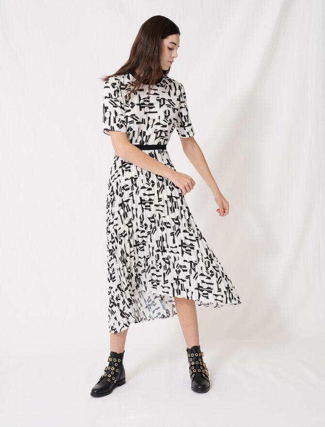 Motif dress with inlaid waistband - Dresses - MAJE