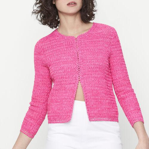 Short tape knit cardigan : Sweaters & Cardigans color Fuschia