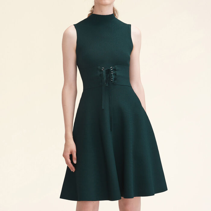 Stretch-knit sleeveless dress with belt : Dresses color GREEN