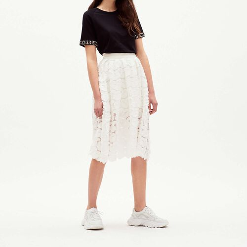 Flounces skirt with fancy prints : Skirts & Shorts color White
