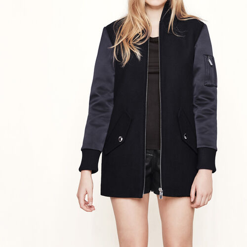 Mixed material bomber-style coat : Coats color Black 210