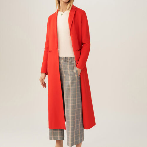 Long double-faced coat : Coats color Orange