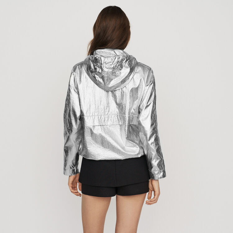Windproof coat with hood : Jackets color Silver