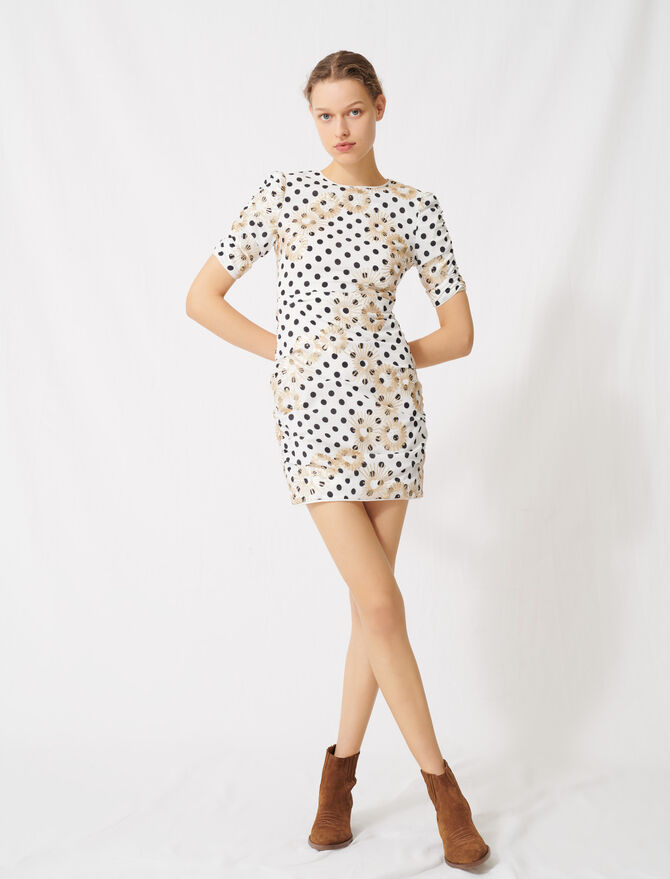 Polka dot and embroidered sequin dress - Dresses - MAJE