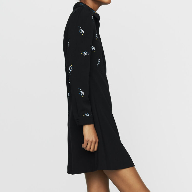 Cotton shirt dress with embroidery : Dresses color Black 210