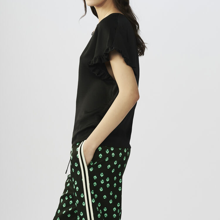 Oversized t-shirt with flounce sleeves : T-Shirts color Black 210