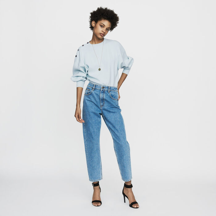 Wide jeans in distressed denim : Le denim color Denim