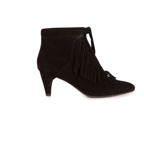 Fringed suede ankle boots : Accessories color Camel