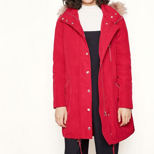 Parka with fur trim : Coats color Red