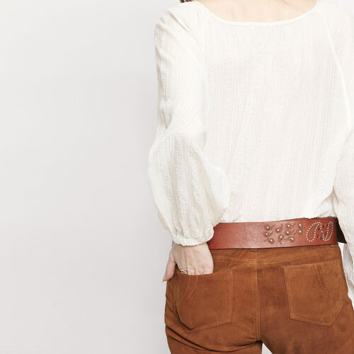 Goatskin suede trousers : Trousers & Jeans color Camel