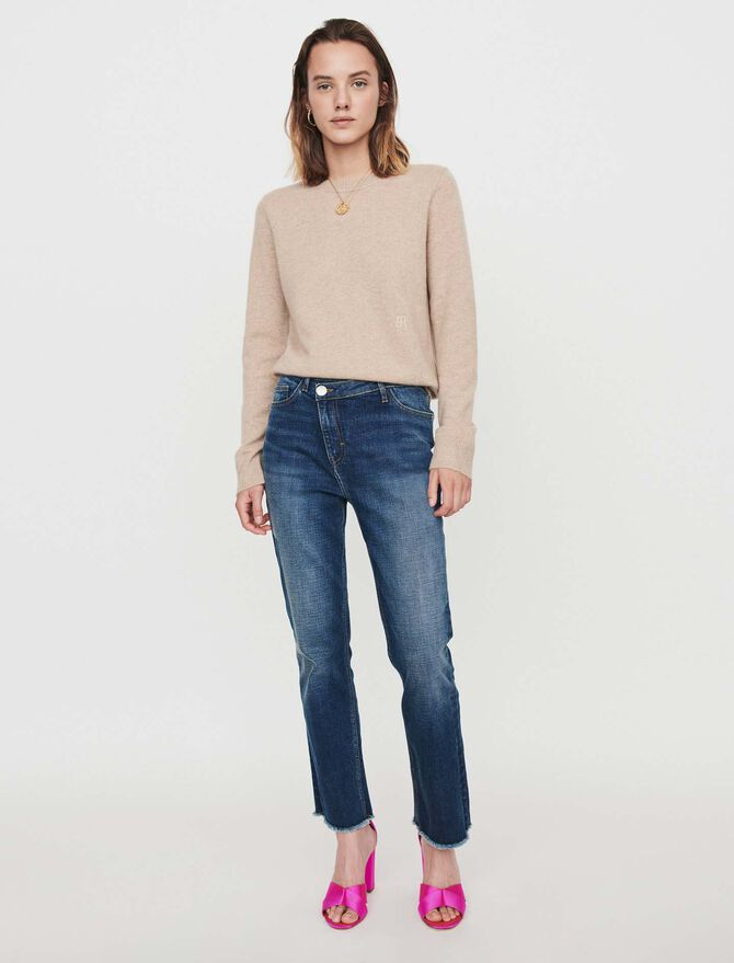 Patched jeans with offset belt -  - MAJE