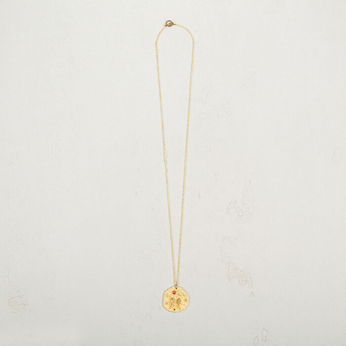 Necklace with hammered medallion -  - MAJE