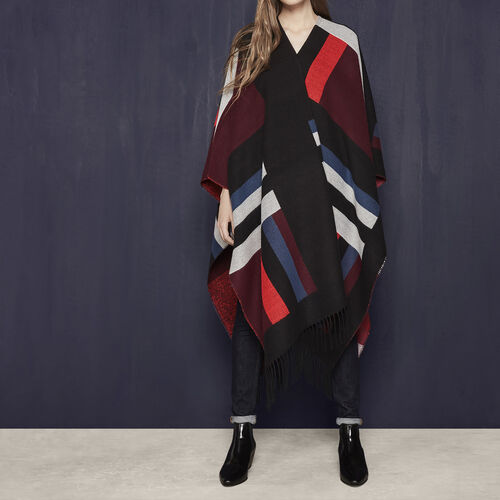 Multicoloured geometric motif poncho : Accessories color Burgundy