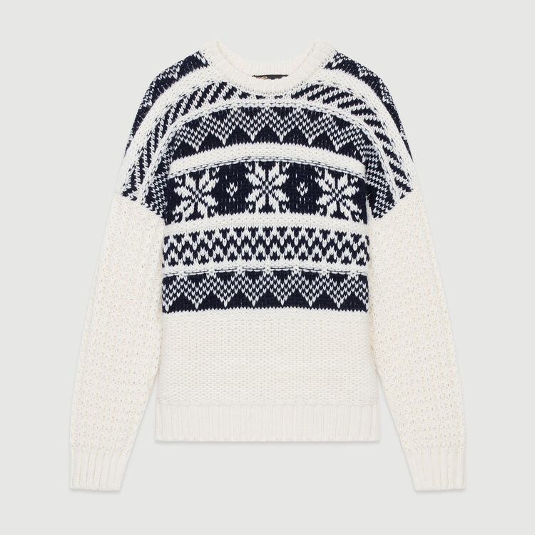 Jacquard knit sweater : Ready to wear color ECRU