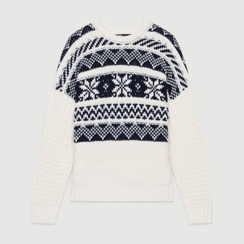 Jacquard knit sweater : Knitwear color ECRU