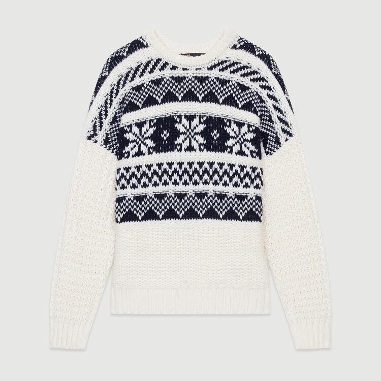 Jacquard knit sweater : Knitwear color ECRU