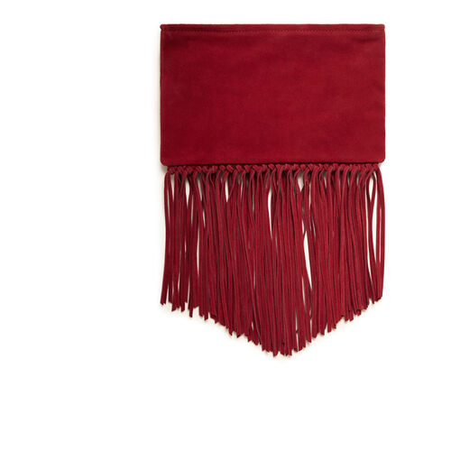 Fringed suede clutch bag : Accessories color Raspberry
