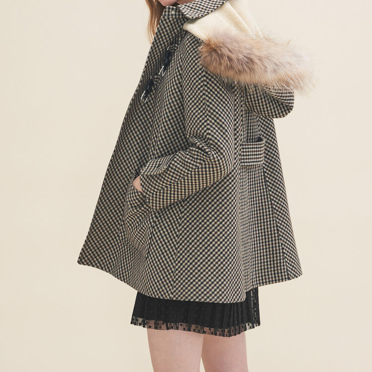 Coat with Prince of Wales-style checks : Coats color Jacquard