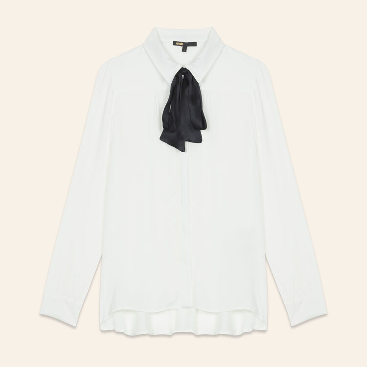 Floaty shirt with pussy bow-style tie : Tops color Ecru