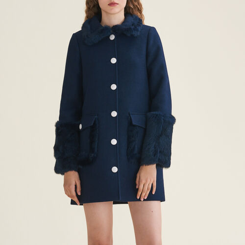 Straight-cut wool blend coat with rabbit - Coats - MAJE