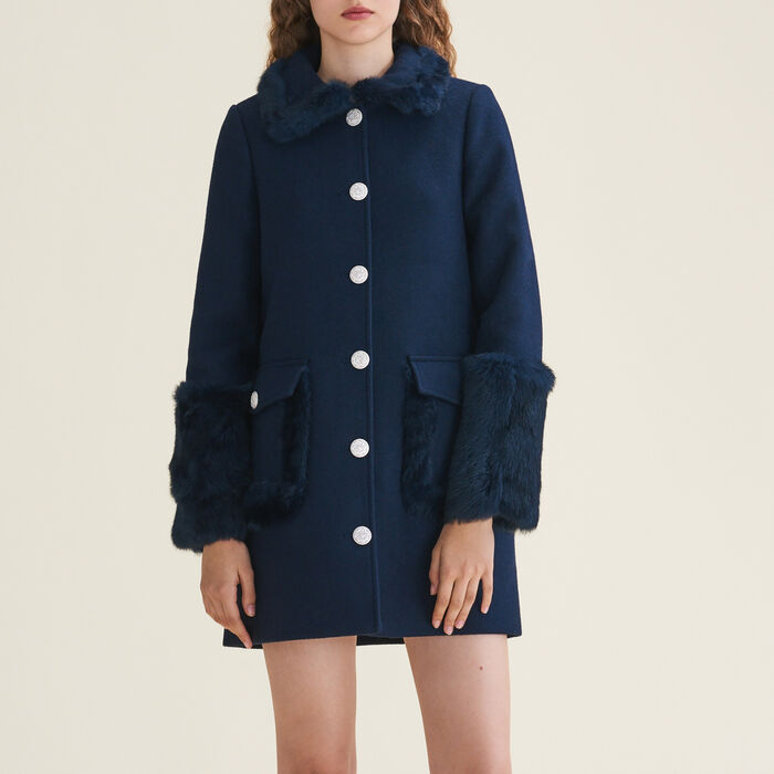 Straight-cut wool blend coat with rabbit : Coats color Blue