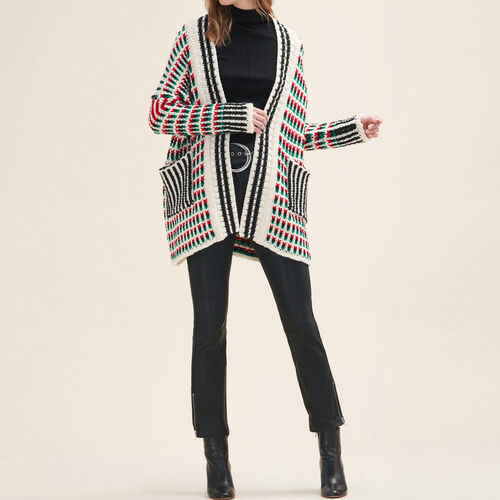 Long multi-coloured knit cardigan : Knitwear color Multico