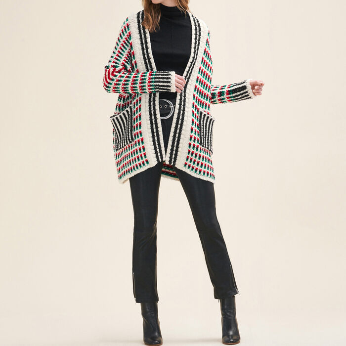 Long multi-coloured knit cardigan -  - MAJE