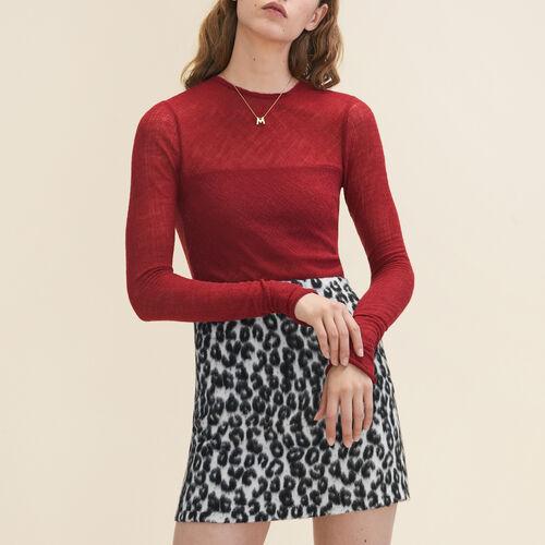 Fitted top in wool muslin : Tops color Burgundy