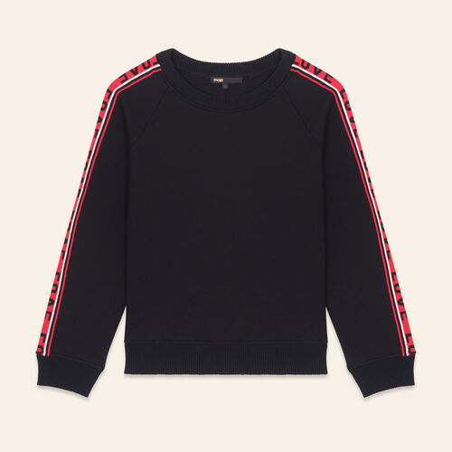 Neoprene sweatshirt with bands : Sweatshirts color Black 210