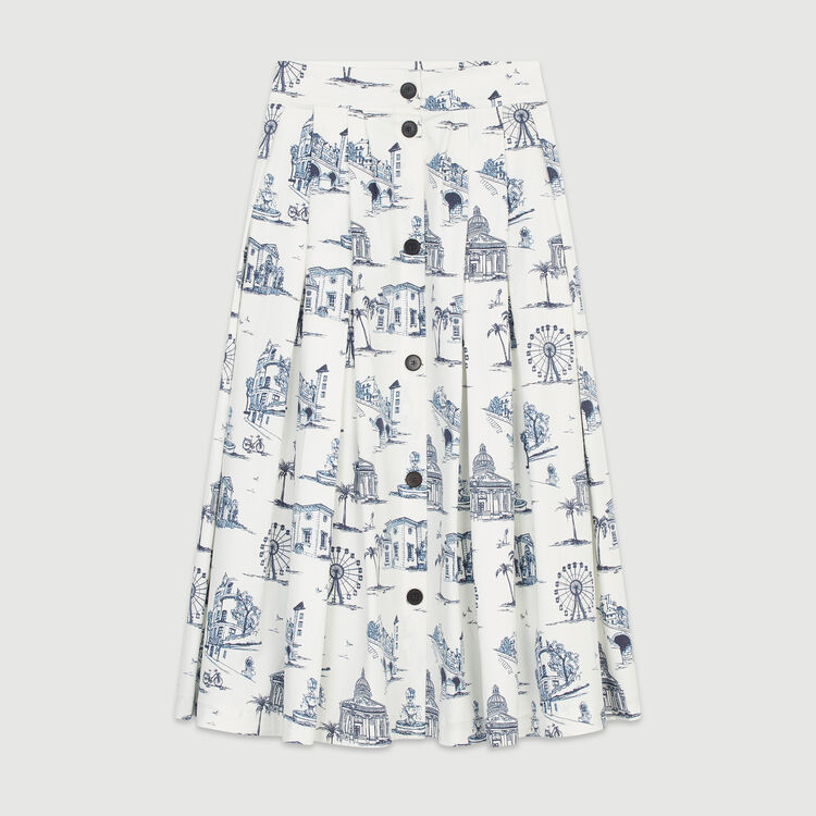 Midi skirt with Paris print : Skirts & Shorts color Ecru