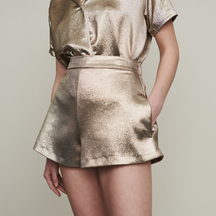 Shorts in silk blend : Skirts & Shorts color Gold