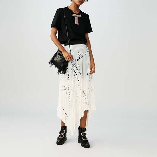 Long skirt with perforated pleats : Skirts & Shorts color White