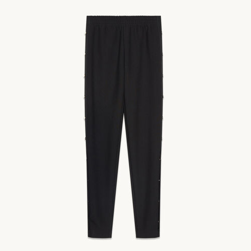 Crêpe trousers with press studs - null - MAJE