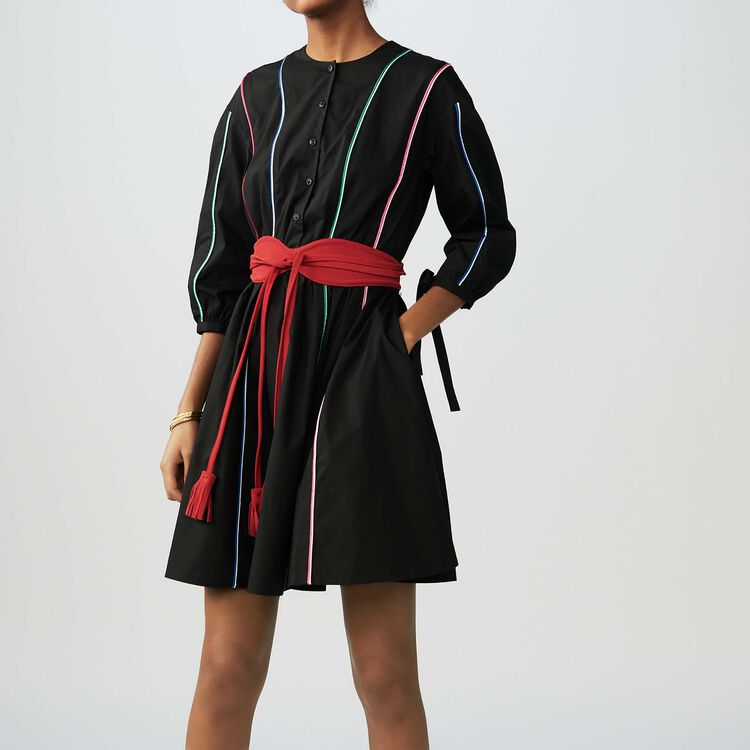 Cotton canvas dress with piping : Dresses color Black 210