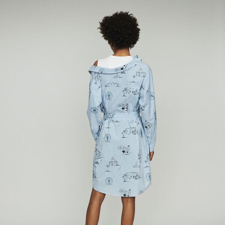 Trompe l'oeil printed shirt dress : Dresses color Blue