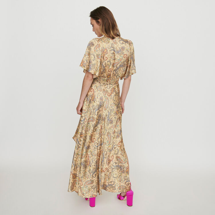 Burn-out-printed scarf smock dress : Dresses color Beige