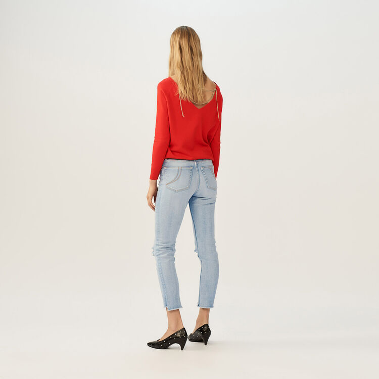 Cropped faded denim jeans : Le denim color Denim