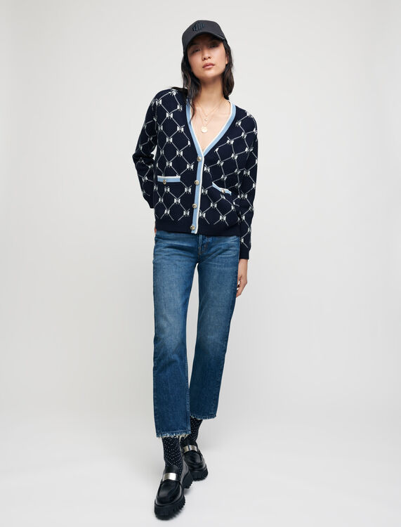 Jacquard cardigan with contrasting bows - Pullovers & Cardigans - MAJE