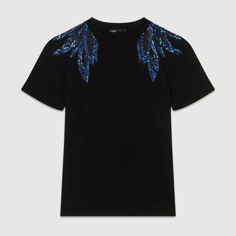Embroidered T-shirt in cotton : T-Shirts color Black 210